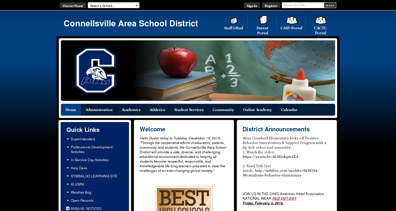 Casdfalconsorg Connellsville Area School District Homepage