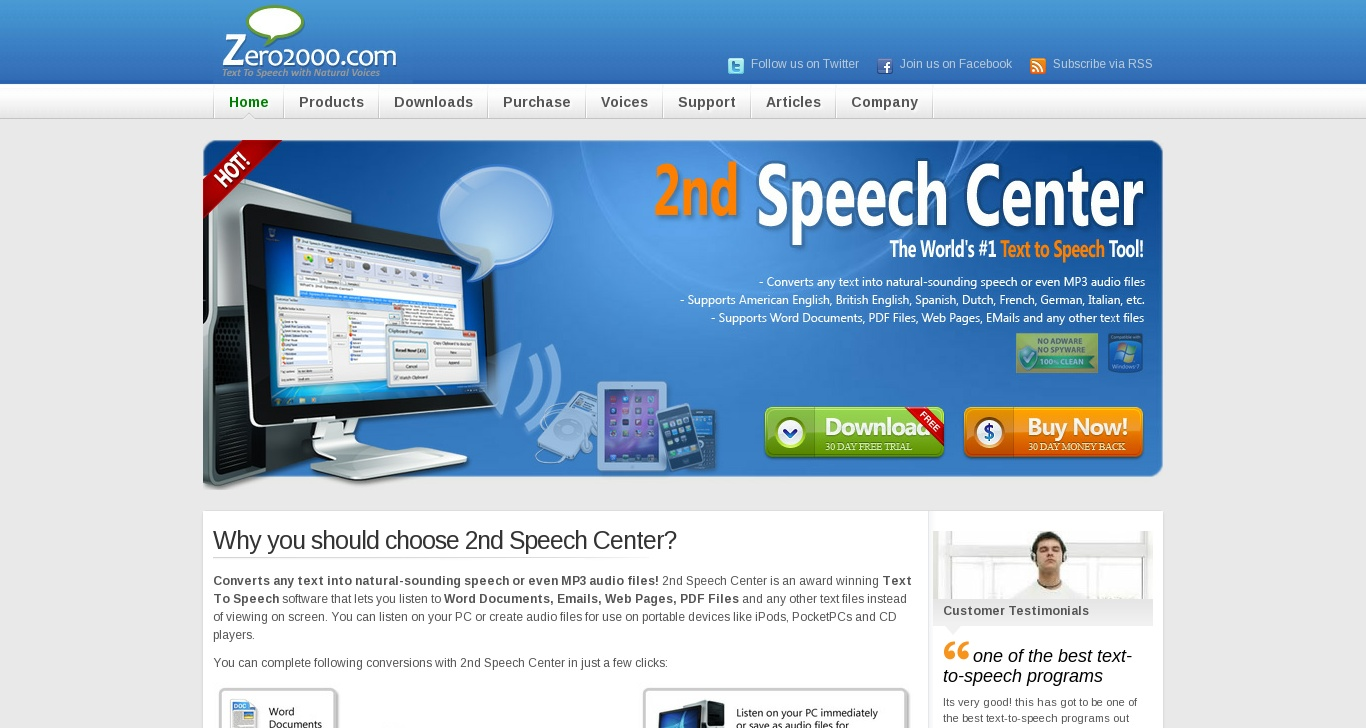 zero2000 com - Text To Speech Software with Free Natural Voices
